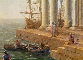 Harbour scene, detail from ''Departure of Ulysses from the land of the Feaci''