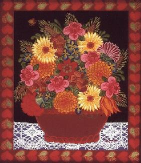 Brown Flowerbowl (painted on glass)