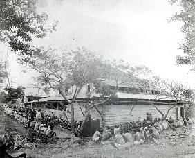 Plantation workers arrived from India at the Depot, Port of Spain, Trinidad, c.1891