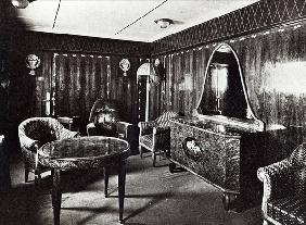 Saloon of a Luxury Apartment in the Ocean Liner ''Paris'', July 1921 (b/w photo)