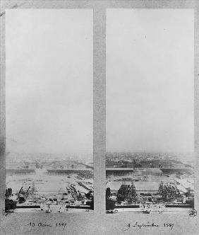 Two views of the construction of the Eiffel Tower, Paris, 10th August and 9th September 1887 (b/w ph