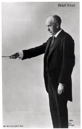 Richard Strauss (1864-1949) conducting in Berlin, 1920s (b/w photo)