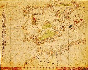 The Iberian Peninsula and the north coast of Africa, from a nautical atlas, 1520(detail from 330910)