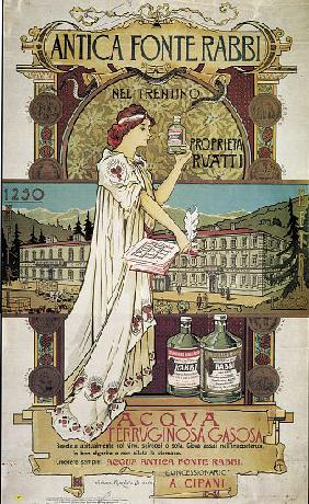 Poster advertising medicinal water from the 'Antica Fonte di Rabbi nel Trentino'