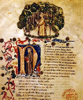 Ms It.474 Opening scene of Dante''s ''Divine Comedy'' with the figure of Dante in the dark wood