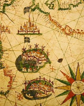The Cities of Marseille and Genoa with their ports, from a nautical atlas, 1651(detail from 330919)