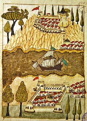 Ms. cicogna 1971, miniature from the ''Memorie Turchesche'' depicting the two great fortresses on th