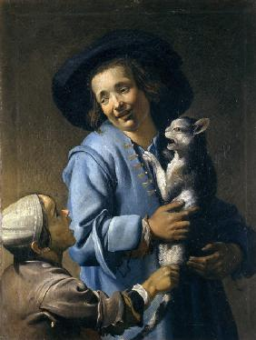 Youths playing with the cat