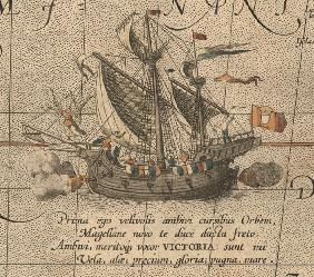 "The Victoria, a Spanish carrack, ship of Ferdinand Magellan's Armada de Molucca. (Aus ""Maris Pacific"