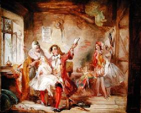 Backstage at the Theatre Royal, possibly depicting Ira Frederick Aldridge (1807-67) rehearsing Othel