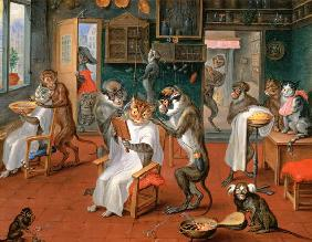 Barber's shop with Monkeys and Cats