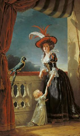 Portrait of Louise-Elisabeth de France (1727-59) Duchess of Parma and her son Ferdinand (1751-1802)