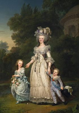Queen Marie Antoinette (1755-93) with her Children in the Park of Trianon