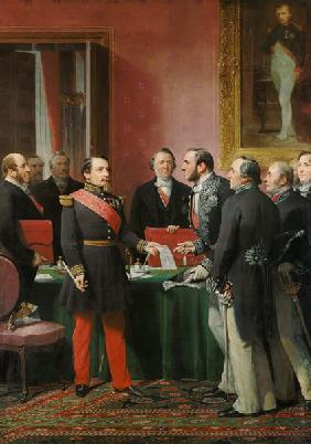 Napoleon III (1808-73) Hands Over The Decree allowing the Annexation of the Suburban Communes of Par