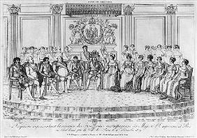 Sketch depicting Napoleon I and the sovereigns at the ball given the city of Paris on 4th December 1