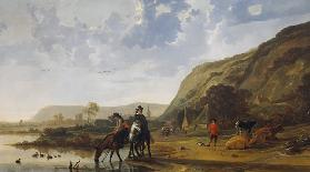 River Landscape with Riders