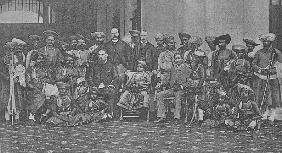 The Young Maharaja of Gwalior with his guardian Sir Lepel Griffin and court, c.1886