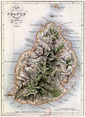 Map of Mauritius, illustration from ''Paul et Virginie'' Henri Bernardin de Saint-Pierre (1737-1814)