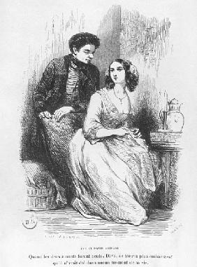 Eve and David Sechard, illustration from ''Les Illusions perdues'' Honore de Balzac, publishedEditio