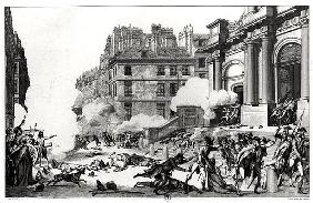 Day of 13 Vendemiaire an IV (5th October 1795), shoot-out before St. Roch church in Paris; engraved