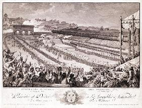 Festival of the Federation, 14 July 1790, at the Champ de Mars, late 18th century; engraved by Isido