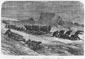 Pulling the sledges through the pack ice, illustration from ''Expedition du Tegetthoff'' Julius Pray