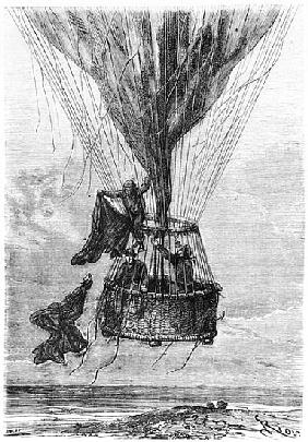 Three Men in a Gondola, illustration from ''Five Weeks in a Balloon'' Jules Verne (1828-1905)