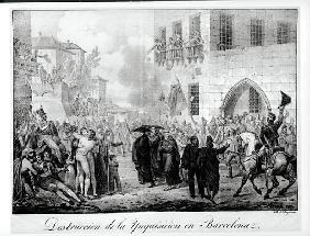 Destruction of the Inquisition in Barcelona, 10th March 1820; engraved by Godefroy Engelmann (1788-1