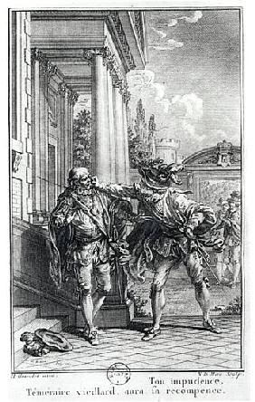 Fight scene, illustration for ''Le Cid'' (1637) Pierre Corneille (1606-84) ; engraved by Noel Le Mir