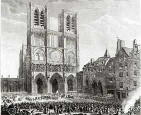 Thomas de Mahy (1744-90) Marquis of Favras Making Honourable Amends before Notre-Dame; engraved by P