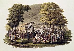 Camp Meeting of the Methodists in North America; engraved by Matthew Dubourg (fl.1813-20) 1819