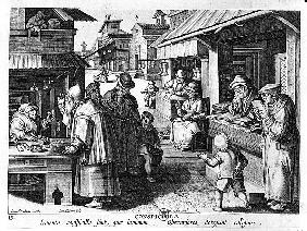 The Spectacles Seller; engraved by Jan Collaert and Joan Galle (1600-76)