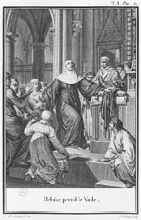 Heloise taking the veil, illustration from ''Lettres d''Heloise et d''Abelard'', volume I, page 39;