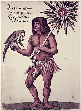 Amazon Indian; engraved by Theodore de Bry (1528-98)
