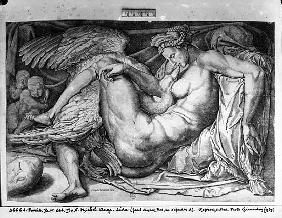 Leda; engraved by Jacobus Bos, Boss or Bossius (b.c.1520)