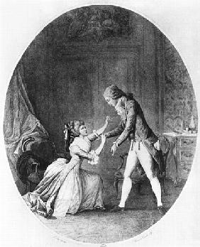 Valmont seducing Madame de Tourvel, illustration from ''Les Liaisons Dangereuses'' Pierre Choderlos
