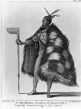 A New Zealand warrior, from ''A Journal of a Voyage to the South Seas in his Majesty''s ship, the En