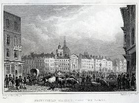 Smithfield Market from the Barrs; engraved by Thomas Barber, c.1830