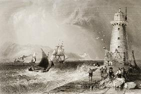South Wall Lighthouse with Howth Hill in the Distance, Dublin, from ''Scenery and Antiquities of Ire