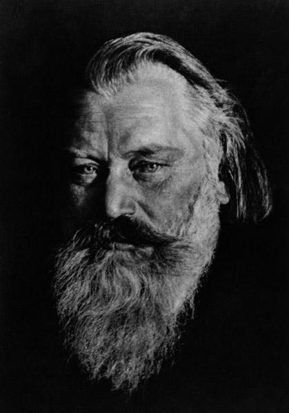 Johannes Brahms (1833-97) (b/w photo)
