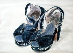 Black Suede Shoes with Beads