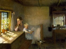 A Woman and Child in a Sunlit Inter– ior