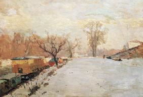 Road by the Seine at Neuilly in Winter