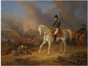 Napoleon Bonaparte before the burning City of Smolensk