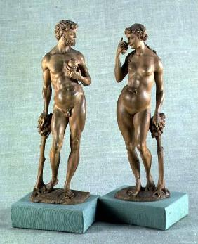 Adam and Eve, a pair of statues