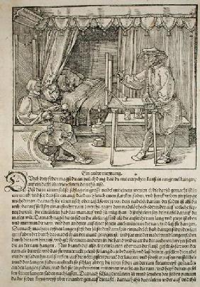 Artist using Durer's drawing machine to paint a figure, from 'Course in the Art of Drawing' by Albre