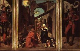 Paumgartner Altarpiece: Central Panel, the Nativity and Members of the Paumgartner Family; Left Hand