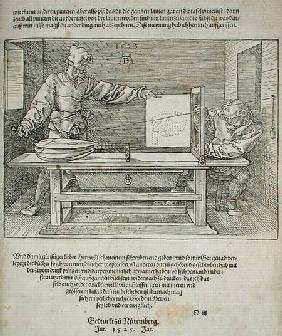 Scene from Durer's 'Course in the Art of Drawing'