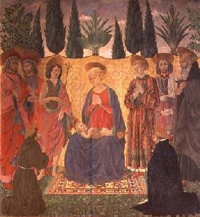 Madonna and Child with SS. Cosmas and Damian, John the Baptist, Lawrence, Julian and Anthony; kneeli