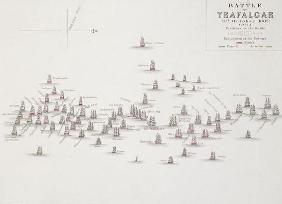 The Battle of Trafalgar, 21st October 1805, Positions in the Battle, c.1830s (engraving)